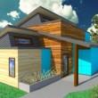 Casa moderna, plano de casa dos plantas, plano de casa moderna, plano de casa 3 dormitorios