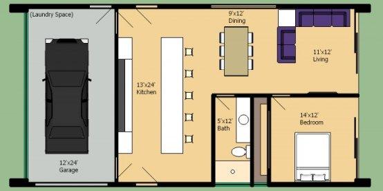 1 habitacion planos de casas gratis for Diseno de oficinas pequenas planos