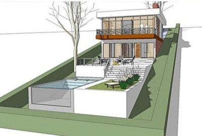 fachada de casa terreno en pendiente, fachada casa moderna