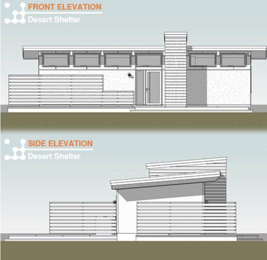 corte fachada casa campo pequeña
