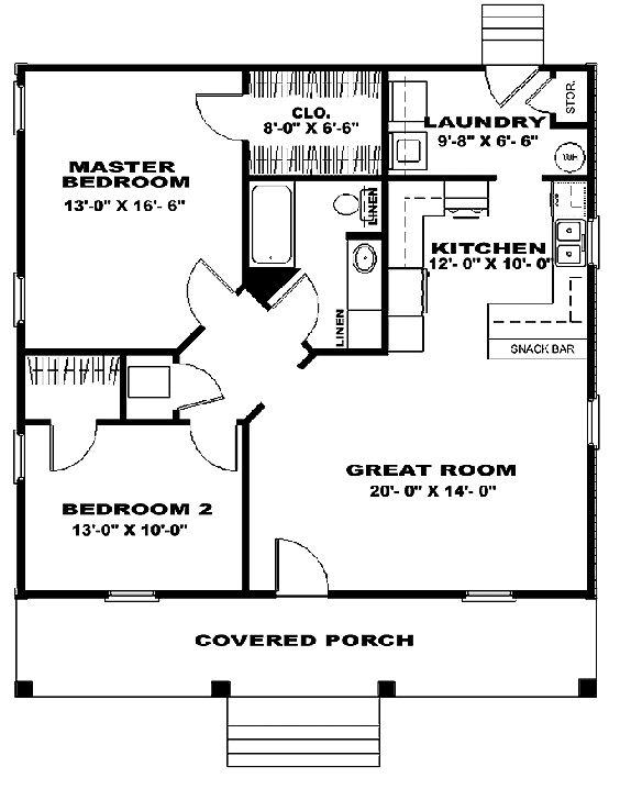 plano cabaña simple dos habitaciones