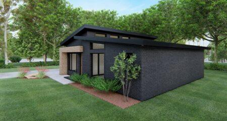 lateral fachada de casa techo a dos aguas, fachada casa azul oscuro