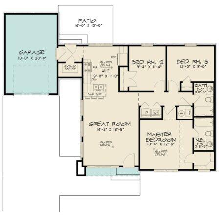 plano de casa techo a dos aguas